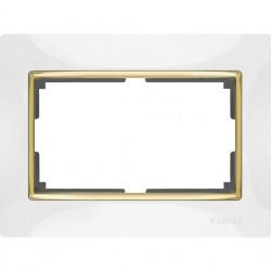 Рамка для двойной розетки Werkel Snabb, белый/золото a035260