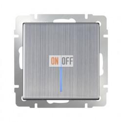 Выключатель одноклавишный проходной (из 2-х мест) с подсветкой  10 AX - 250 В, Werkel глянцевый никель a030791