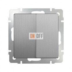 Выключатель двухклавишный проходной (из 2-х мест) 10 AX - 250 В Werkel, серебряный рифленый a035656