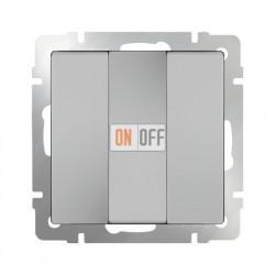 Выключатель трехклавишный 10 AX - 250 В, Werkel серебряный a033751