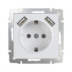 Розетка с заземлением, шторками и USBх2, 16 A - 250 В, винтовой зажим, Werkel белый a033473