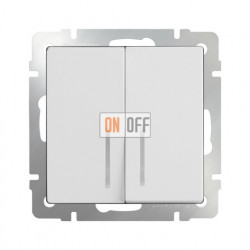 Выключатель двухклавишный проходной (из 2-х мест) с подсветкой 10 AX - 250 В, Werkel белый a030767