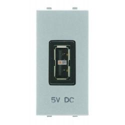 ABB NIE Zenit Механизм USB зарядного устройства, 1мод., 750 мА серебристый N2185 PL