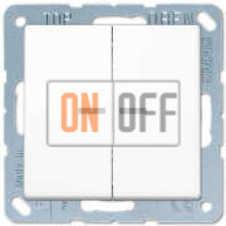 Выключатель 2-клавишный, с подсветкой, Белый