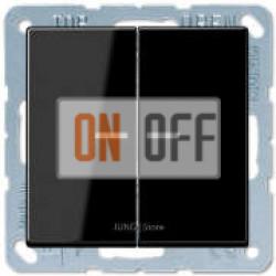 Выключатель 2-клавишный, с подсветкой, Черный