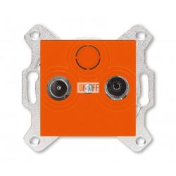 Розетка TV-R, проходная, 7дБ, цвет Оранжевый/Дымчатый черный, Levit, ABB