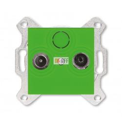 Розетка TV-R, проходная, 7дБ, цвет Зеленый/Дымчатый черный, Levit, ABB