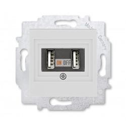 USB зарядка двойная, цвет Серый/Белый ABB Levit