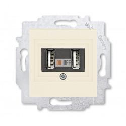 USB зарядка двойная, цвет Слоновая кость/Белый, Levit, ABB