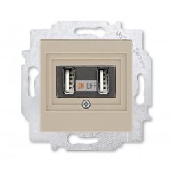 USB зарядка двойная,  цвет Макиато/Белый, Levit, ABB