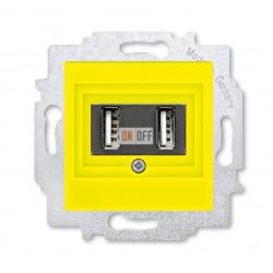USB зарядка двойная, цвет Желтый/Дымчатый черный, Levit, ABB