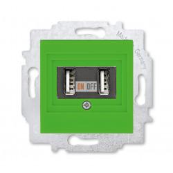 USB зарядка двойная, цвет Зеленый/Дымчатый черный, Levit, ABB