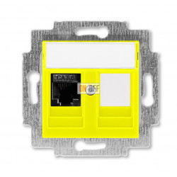 Розетка компьютерная RJ45 кат,6+заглушка, цвет Желтый/Дымчатый черный, Levit, ABB