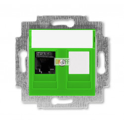 Розетка компьютерная RJ45 кат,6+заглушка, цвет Зеленый/Дымчатый черный, Levit, ABB