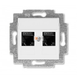 ABB EPJ Levit Розетка компьютерная, 2хRJ45 кат,6, цвет  белый / белый