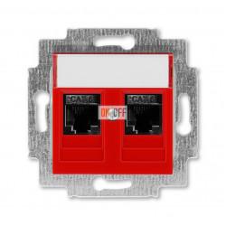 Розетка компьютерная, 2хRJ45 кат,6, цвет краcный / дымчатый чёрный ABB Levit