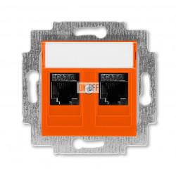 Розетка компьютерная, 2хRJ45 кат,6, цвет Оранжевый/Дымчатый черный, Levit, ABB