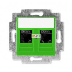 Розетка компьютерная, 2хRJ45 кат,6, цвет Зеленый/Дымчатый черный, Levit, ABB