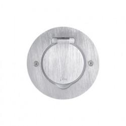 Встраиваемый лючок круглый, на 1 пост (2 модуля) с монтажной коробкой, IP 44, нержавеющая сталь