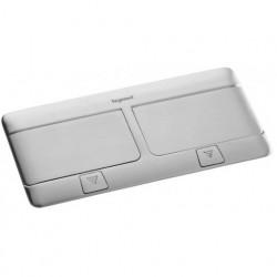 Выдвижной блок, 8 (2х4) модулей c монтажной пластиковой коробкой и установ. набором (для столов и фальш-полов), IP 40, Алюминий