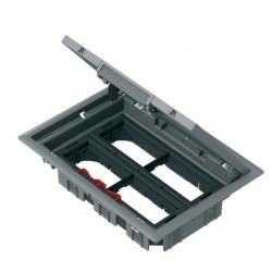 Напольный лючок 199х276 мм для 8 механизмов 45х45 или четырёх 45х90, с монтажной коробкой, серый пластик