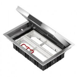 Напольный лючок 199х276 мм для 8 механизмов 45х45 или четырёх 45х90, с монтажной коробкой, нерж. сталь