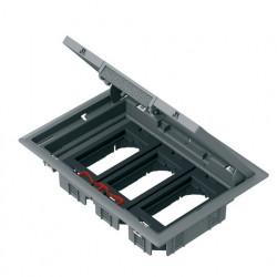 Напольный лючок 199х276 мм для 6 механизмов 45х45 или трёх 45х90, с монтажной коробкой, серый пластик