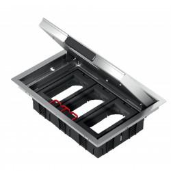 Напольный лючок 199х276 мм для 6 механизмов 45х45 или трёх 45х90, с монтажной коробкой, нерж. сталь