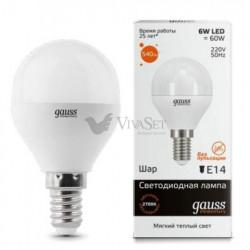 Лампа Gauss LED Elementary G45 E14 6W 3000K 53116