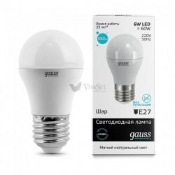 Лампа Gauss LED Elementary G45 E27 6W 3000K 53216