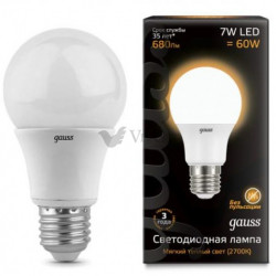 Лампа Gauss LED A60 E27 7W 2700K 102502107