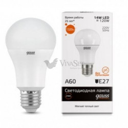 Лампа Gauss LED Elementary A60 14W E27 2700K 1/10/40 23214