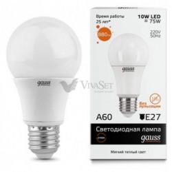 Лампа Gauss LED Elementary A60 E27 10W 220V 3000K 23210