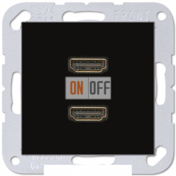 Розетка HDMI 2-ая (разъем), цвет Черный, A500, Jung