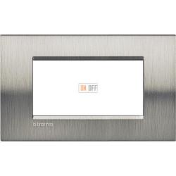 Рамка итальянский стандарт 4 мод прямоугольная, цвет Сталь Фактурная, LivingLight, Bticino