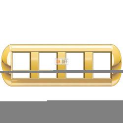Рамка 4-ая (четверная) овальная, цвет Золото, LivingLight, Bticino