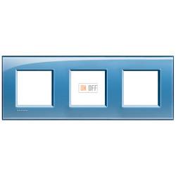 Рамка 3-ая (тройная) прямоугольная, цвет Голубой, LivingLight, Bticino
