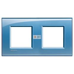 Рамка 2-ая (двойная) прямоугольная, цвет Голубой, LivingLight, Bticino