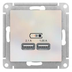 Розетка USB 2-ая 2100 мА (для подзарядки), Жемчуг, серия Atlas Design, Schneider Electric