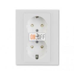 Розетка 2-ая электрическая с заземлением с защитными шторками, цвет Серый/Белый, Levit, ABB