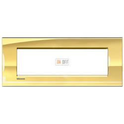 Рамка итальянский стандарт 7 мод прямоугольная, цвет Золото, LivingLight, Bticino
