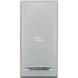 Установочный выключатель 1-клавишный, проходной (с двух мест) 1 мод (винтовые клеммы), цвет Алюминий, Axolute, Bticino