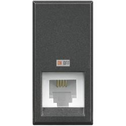 Установочная розетка телефонная 1-ая 4 контакта, RJ-11 1 мод, цвет Антрацит, Axolute, Bticino