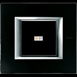 Рамка 1-ая (одинарная) прямоугольная, цвет Стекло Черное, Axolute, Bticino