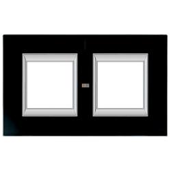 Рамка 2-ая (двойная) прямоугольная, цвет Стекло Черное, Axolute, Bticino