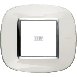 Рамка 1-ая (одинарная) эллипс, цвет Белая карамель, Axolute, Bticino