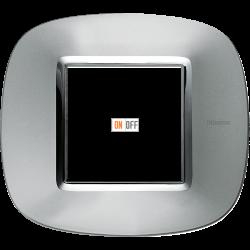 Рамка 1-ая (одинарная) эллипс, цвет Зеркальный алюминий, Axolute, Bticino