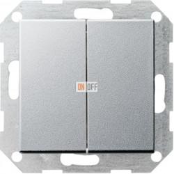 Выключатель 2-клавишный; кнопочный, цвет Алюминий, Gira
