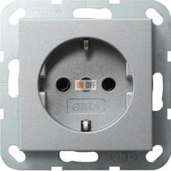 Розетка 1-ая электрическая , с заземлением (безвинтовой зажим), цвет Алюминий, Gira
