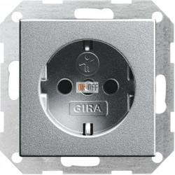 Розетка 1-ая электрическая , с заземлением и защитными шторками (безвинтовой зажим), цвет Алюминий, Gira